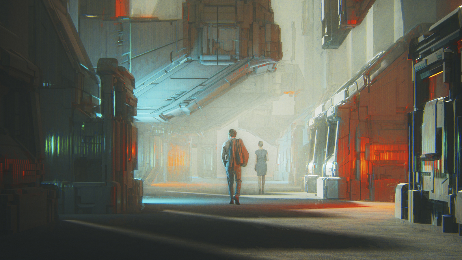 Lonely people walking in futuristic city street. This is entirely 3D generated image.