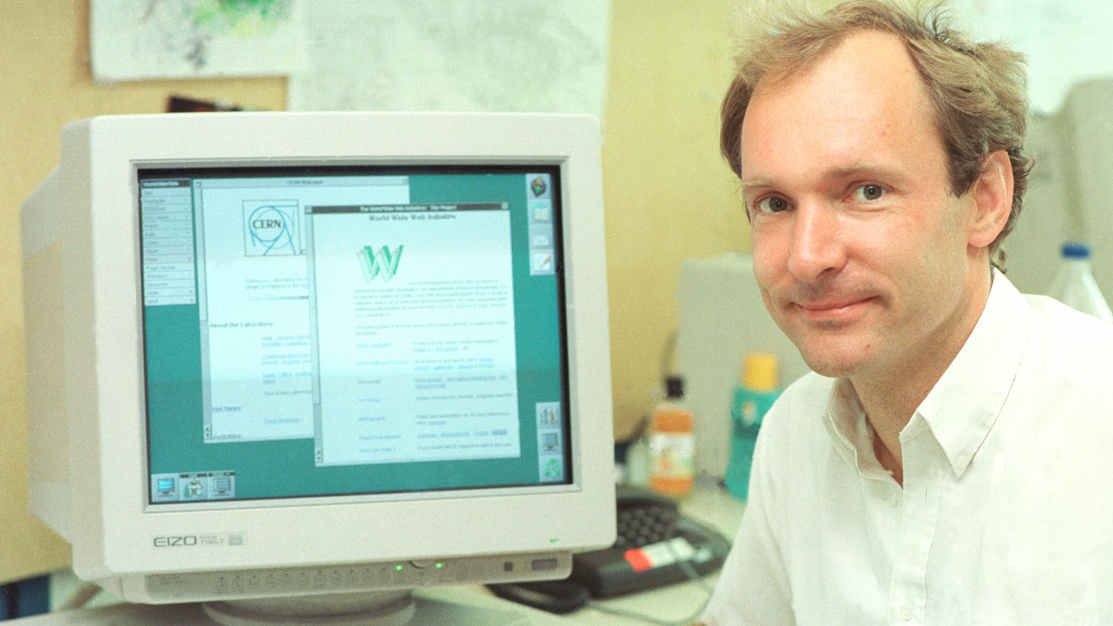 Former physicist, Tim Berners-Lee invented the World Wide Web for high energy physics at CERN from 1989 to 1994. copyright 1994-2020 CERN