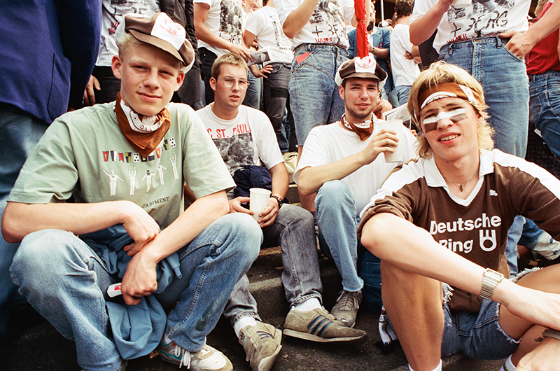 Fans with Volker T-shirts in 1990 or 1991. Image courtesy of FC St. Pauli Museum, 1910 E.V.